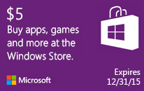 $5 Windows Store Gift Card for Windows 8.1 and Windows Phone 8